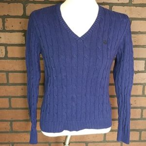 Chaps womens v neck cable knit sweater large